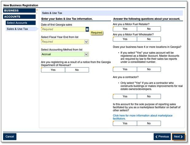 Image of a the screen to update your sales and Use tax account